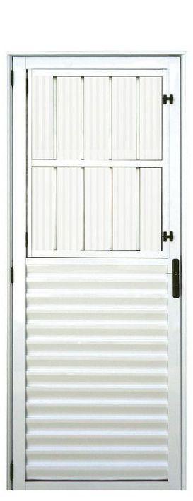 PRONTA ENTREGA - Porta de Abrir (Giro) em Alumínio Branco Social com Postigo Vidro Mini Boreal - Linha 25 Lux Esquadrias
