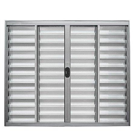 Janela Veneziana em Alumínio Brilhante 6 Folhas Vidro Liso Incolor - Linha Normatizada Lux Esquadrias