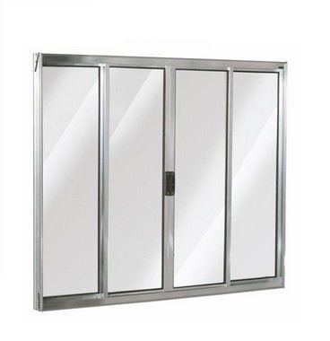 PRONTA ENTREGA - Janela de Correr em Alumínio Brilhante 4 Folhas Vidro Liso Incolor - Linha Moderna Esquadrisul