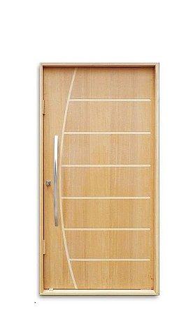 Porta de Abrir Pivotante Belíssima em Madeira Sólida Imbuía com Puxador Reto 60 cm e Fechadura Batente de 14 Cm - Uniportas
