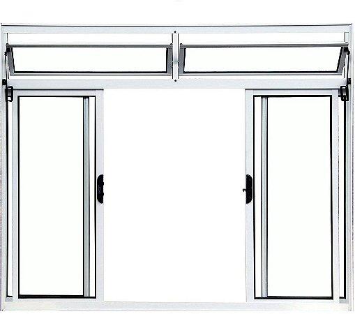 PRONTA ENTREGA - Janela de Correr em Alumínio Branco 4 Folhas Com Bandeira Vidro Liso Incolor - Linha Normatizada Lux Esquadrias