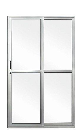 Porta de Correr em Alumínio Brilhante 2 Folhas Uma Fixa Vidro Liso Com Fechadura - Linha 25 Esquadrisul