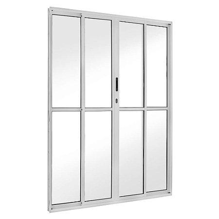 Porta de Correr em Alumínio Branco 4 Folhas Vidro Liso Com Fechadura - Linha FortSul - L25 - Esquadrisul