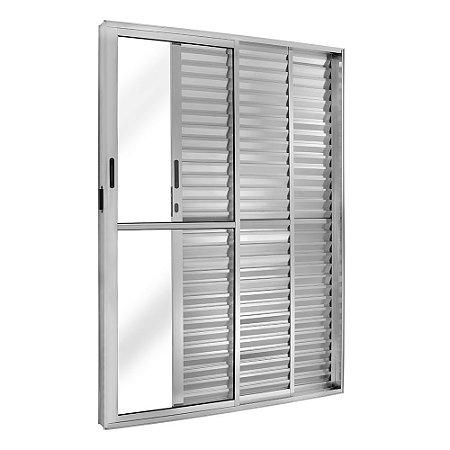 Porta Balcão em Alumínio Brilhante 3 Folhas Uma Fixa Vidro Liso e Veneziana Com Fechadura - Linha FortSul - L25 - Esquadrisul