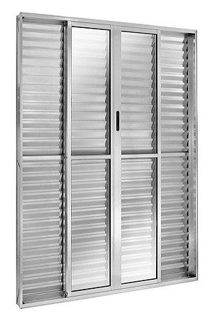 Porta Balcão em Alumínio Brilhante 6 Folhas Vidro Liso e Veneziana Com Fechadura - Linha FortSul - L25 - Esquadrisul
