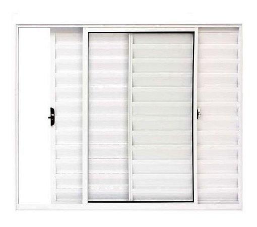 Janela Veneziana em Alumínio Branco 3 Folhas Uma Fixa Vidro Liso - Linha Modular Esap