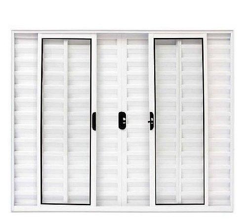 Janela Veneziana em Alumínio Branco 6 Folhas Vidro Liso - Linha Modular Esap