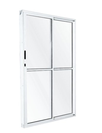 PRONTA ENTREGA - Porta de Correr em Alumínio Branco 2 Folhas Uma Fixa Vidro Liso Com Fechadura - Linha FortSul - L25 - Esquadrisul