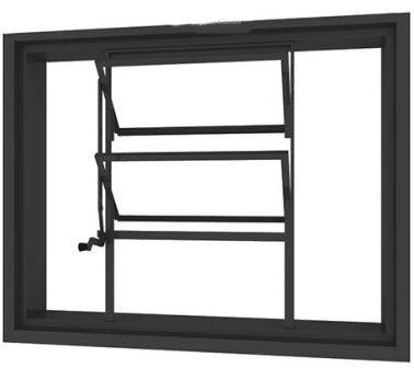 Janela Basculante em Aço Sem Vidro - Requadro 12 cm - Linha Prata Gerotto