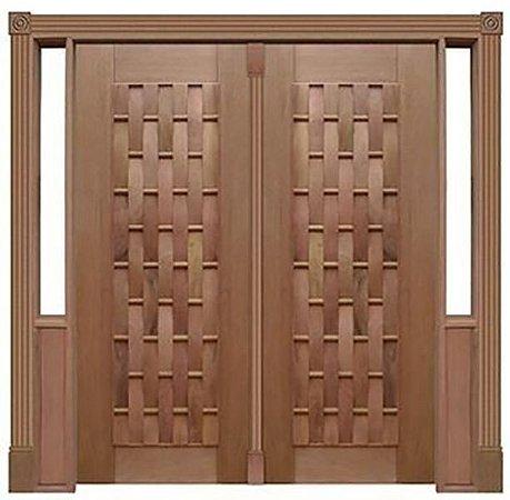 Porta de Abrir 2 Folhas Pivotante Couro Longo 110 em Madeira Cedro Arana Montada no Batente de 14 Cm com Pivô - Casmavi