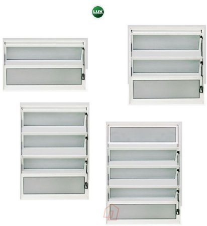 Janela Basculante em Alumínio Branco uma Seção Vidro Mini Boreal - Linha Premium Lux Esquadrias