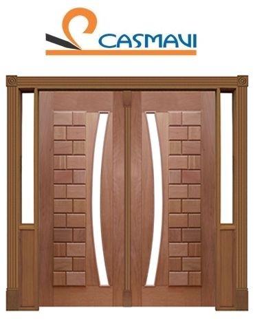 Porta de Abrir 2 Folhas Pivotante Ibiza 095 Vidro Arco em Madeira Cedro Arana Montada no Batente de 14 Cm com Pivô - Casmavi