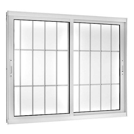 Janela de Correr em Alumínio Branco 2 Folhas Móveis com Grade Vidro Liso Incolor - Linha TopSul - Esquadrisul