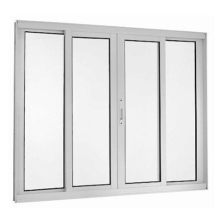 Janela de Correr em Alumínio Branco 4 Folhas Vidro Liso Incolor - Linha TopSul - Esquadrisul