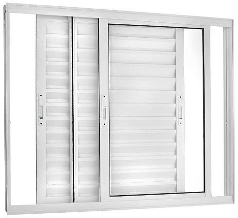 Janela Veneziana em Alumínio Branco 3 Folhas Móveis Vidro Liso Incolor - Linha TopSul - Esquadrisul
