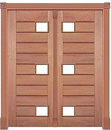 Porta de Abrir 2 Folhas Pivotante Mexicana 6 Vidros 350 em Madeira Cedro Arana Montada no Batente de 14 Cm com Pivô - Casmavi