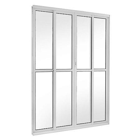 Porta de Correr em Alumínio Branco 4 Folhas Vidro Liso Com Fechadura - Linha TopSul - L30 - Esquadrisul