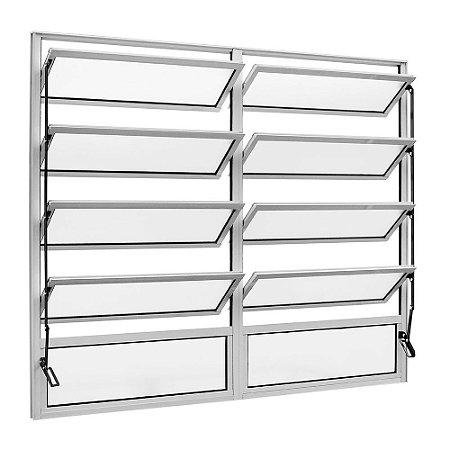 Janela Basculante em Alumínio Branco duas Seções Vidro Canelado - Linha FortSul - Esquadrisul