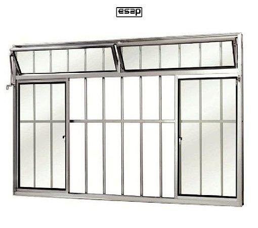 Janela de Correr em Alumínio Fosco 4 Folhas Com Bandeira e Grade Vidro Liso Incolor - Linha Modular Esap