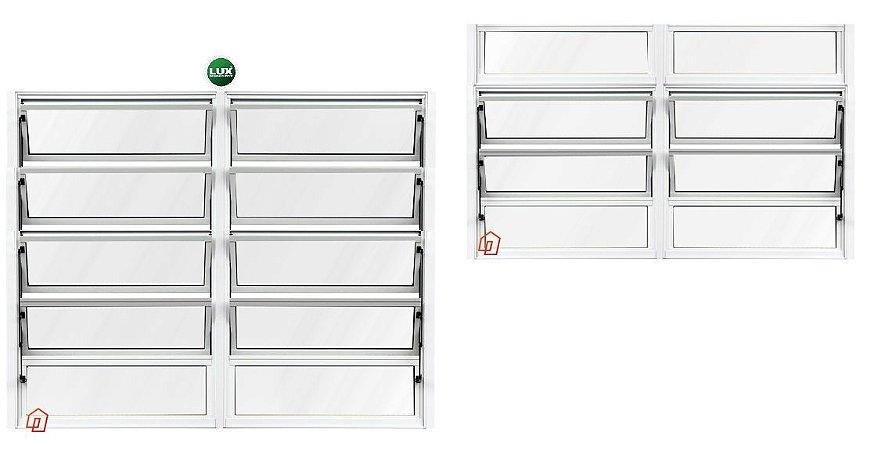 Janela Basculante em Alumínio Branco duas Seções Vidro Mini Boreal - Linha Premium Lux Esquadrias