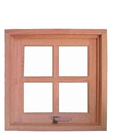 Janela Maxim-ar em Madeira Cedro Arana Quadriculada com Ferragens Reto Batente de 10 Cm - Uniportas