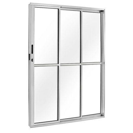 PRONTA ENTREGA - Porta de Correr em Alumínio Brilhante 3 Folhas (1 Fixa) de Vidro com Fechadura - Linha FortSul - L25 - Esquadrisul
