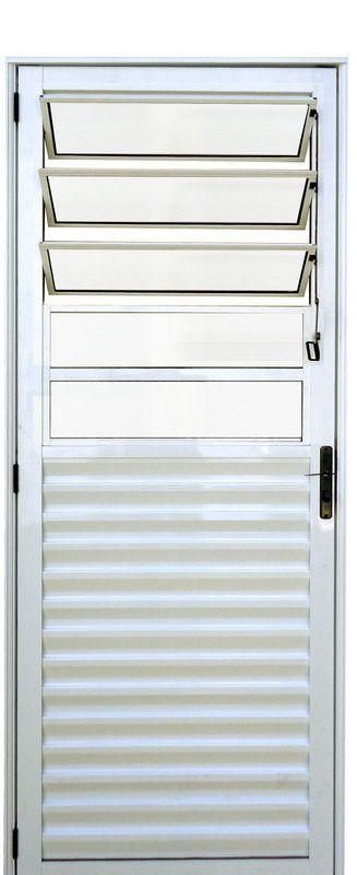 PRONTA ENTREGA - Porta de Abrir (Giro) em Alumínio Branco Com Basculante Vidro Mini Boreal - Linha 25 Lux Esquadrias