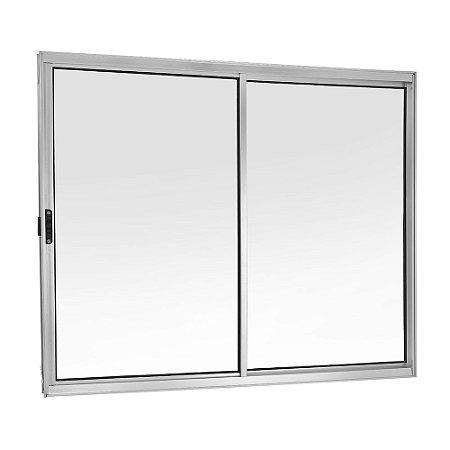 Janela de Correr em Alumínio Brilhante 2 Folhas Móveis Vidro Liso Incolor - Linha FortSul - Esquadrisul