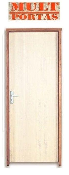 Porta de Abrir (Giro) em Madeira Lisa Amescla Para Pintura Batente de 14 cm com Fechadura e Maçaneta Interna - Mult Portas