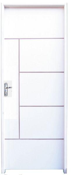 Porta de Abrir (Giro) Atenas em Madeira HDF com Primer Branco e Fechadura Stam Externa Roseta Montada Batente Ecológico de 14 cm - Uniportas