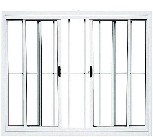 PRONTA ENTREGA - Janela de Correr em Alumínio Branco 4 Folhas Com Grade Vidro Liso Incolor - Linha Normatizada Lux Esquadrias