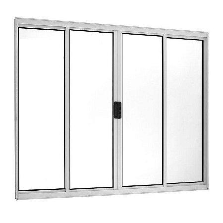 PRONTA ENTREGA - Janela de Correr em Alumínio Branco 4 Folhas Vidro Liso Incolor - Linha Moderna - Esquadrisul