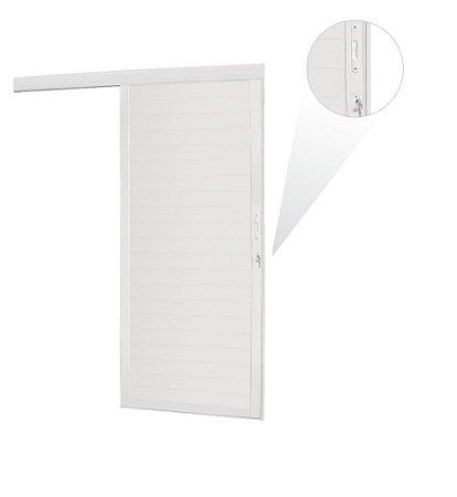 Porta Suspensa Lambril em Alumínio Branco Com Fechadura - Linha Premium Brasil Esquadrias