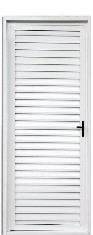 Porta de Abrir (Giro) em Alumínio Branco Palheta Sem Ventilação - Linha 25 Lux Esquadrias