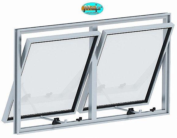 Janela Maxim-ar em Alumínio Branco duas Seções Horizontal Vidro Mini Boreal - Linha 16 Mais Esquadrias