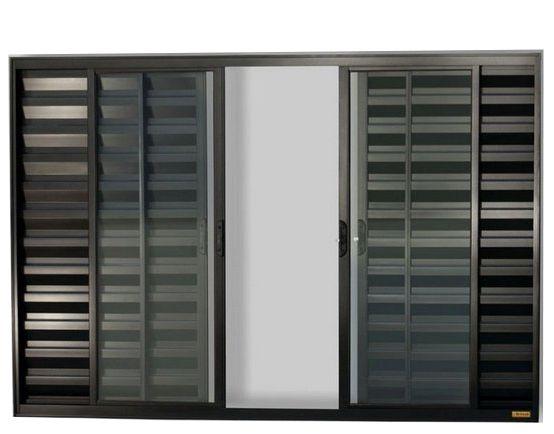 Janela Veneziana em Alumínio Preto 6 Folhas Vidro Liso Incolor - Linha Confort Brimak