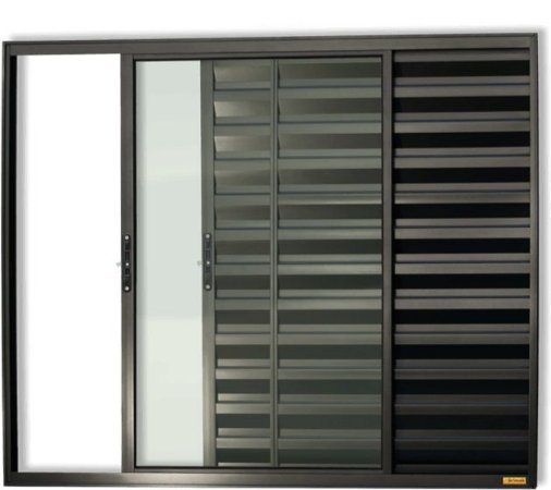 Janela Veneziana em Alumínio Preto 3 Folhas Uma Fixa Vidro Liso Incolor - Linha Confort