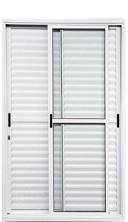 Porta Balcão em Alumínio Branco 3 Folhas Móveis Vidro Liso e Veneziana Com Fechadura - Linha 25 Premium Lux