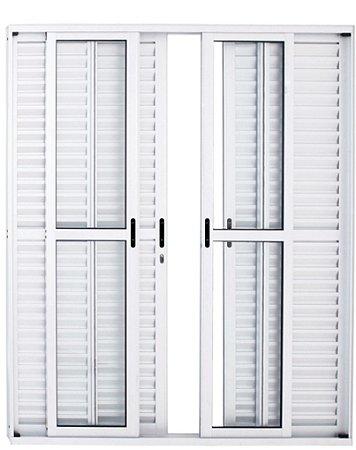 Porta Balcão em Alumínio Branco 6 Folhas Vidro Liso e Veneziana Com Fechadura - Linha 25 Premium Lux