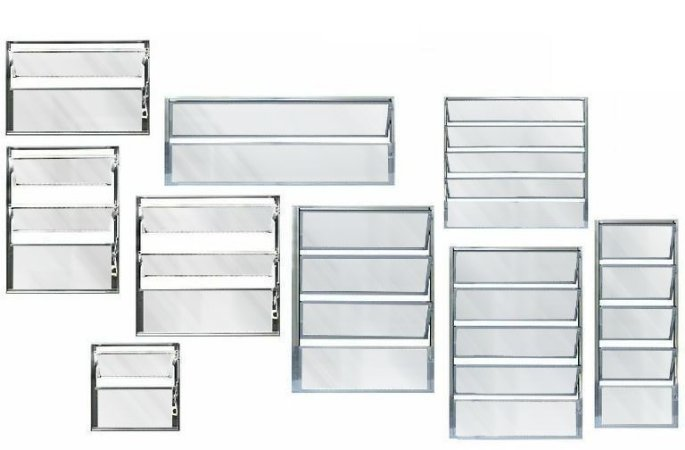 Janela Basculante em Alumínio Brilhante uma Seção Vidro Mini Boreal - Linha FortSul