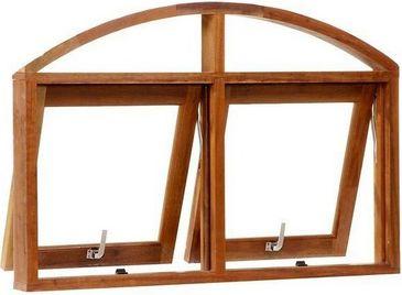 Janela Maxim-ar 2 Seções Horizontal Panorâmica em Arco em Madeira Cedro Arana C/ Ferragem Batente 09 Cm - Casmavi