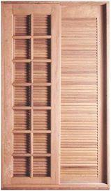 Porta Balcão Veneziana Francesa de Correr 3 Folhas (Uma Fixa) Quadriculada Reta em Madeira Cedro Arana C/ Ferragem Batente 14 Cm - Casmavi