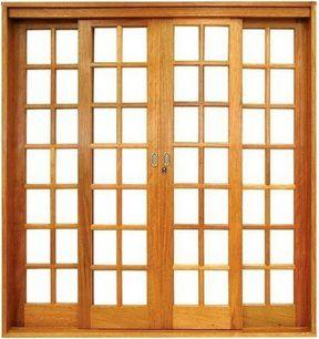 Porta de Correr 4 Folhas Reta Quadriculada S/ Vidro C/ Fechadura em Madeira Cedro Arana C/ Ferragem Batente 14 cm - Casmavi