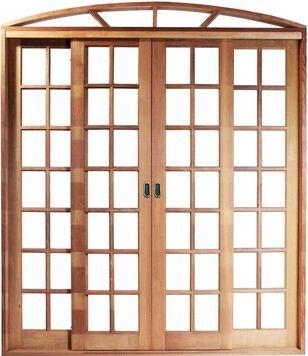 Porta de Correr 4 Folhas em Arco Quadriculada S/ Vidro C/ Fechadura em Madeira Cedro Arana C/ Ferragem Batente 14 cm - Casmavi