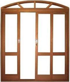 Porta de Correr 4 Folhas em Arco Panorâmica S/ Vidro C/ Fechadura em Madeira Cedro C/ Ferragem Batente 14 Cm - Casmavi