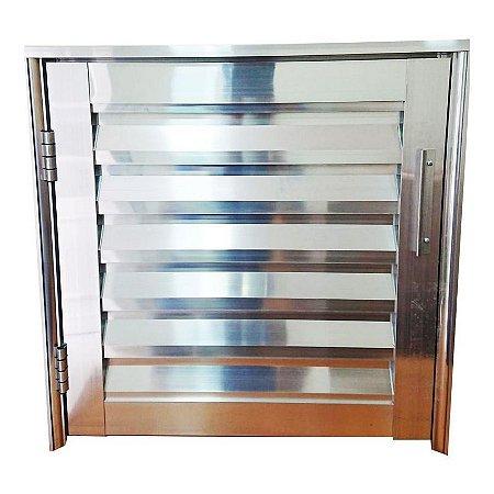 Porta Abrigo em Alumínio Brilhante - Lux Esquadrias