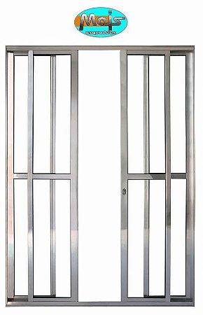 Porta de Correr em Alumínio Brilhante 4 Folhas Vidro Liso Com Fechadura - Linha 25 Mais Esquadrias