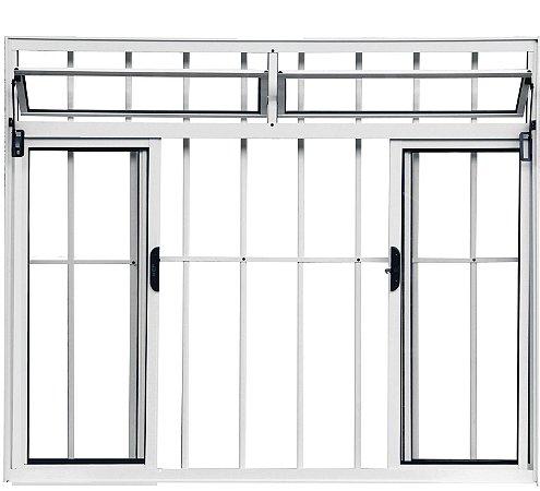 Janela de Correr em Alumínio Branco 4 Folhas Com Bandeira e Grade Vidro Liso Incolor - Linha Normatizada Lux Esquadrias
