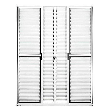 Porta Balcão em Alumínio Branco 6 Folhas Vidro Liso e Veneziana Com Fechadura - Linha Max Lux Esquadrias