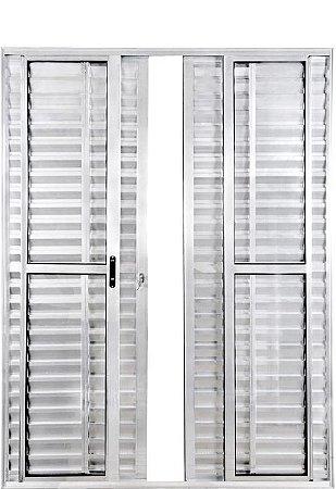 Porta Balcão em Alumínio Brilhante 6 Folhas Vidro Liso e Veneziana Com Fechadura - Linha Max Lux Esquadrias
